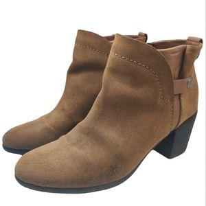 GEOX Respira Suede Ankle Boots Side Zip Stack Heel